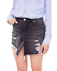Free People - Relaxed Ripped Denim Skirt - Lyst