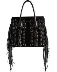 Balmain - Fringe Leather Top Handle Bag - Lyst