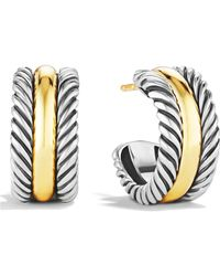 David Yurman - 'cable Classics' Hoop Earrings With Gold - Lyst