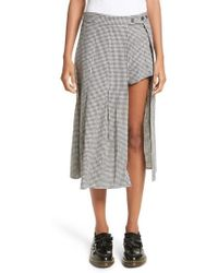 Sandy Liang - Uniform Gingham Linen & Cotton Skirt - Lyst