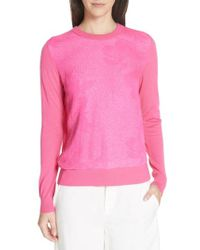 Tory Burch - Floral Cloque Merino Wool Sweater - Lyst