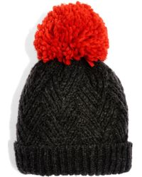 TOPSHOP Chevron Knitted Red Pom Pom Beanie