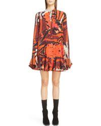 Alexander McQueen - Butterfly Print Ruffle Hem Silk Dress - Lyst