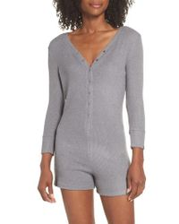 4b0a91d49d01 Lyst - Express One Eleven Cozy Henley Romper in Gray