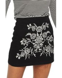 TOPSHOP | Floral Embroidered A-line Skirt | Lyst