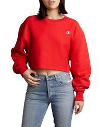 Champion - Crop Reverse Weave Sweatshirt - Lyst