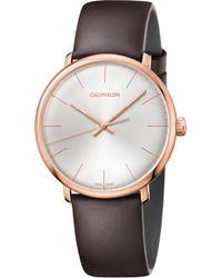 Calvin Klein - High Noon Leather Strap Watch - Lyst