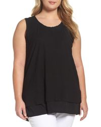 Two By Vince Camuto - Vince Camuto Mixed Media Sleeveless Top - Lyst