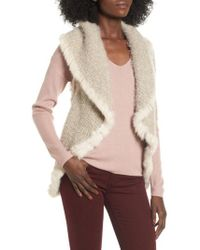 Love Token - Knit Vest With Genuine Rabbit Fur Trim - Lyst