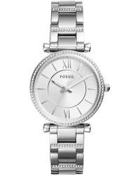 Fossil - Carlie T-bar Crystal Bracelet Watch - Lyst