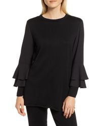 Ming Wang - Tiered Sleeve Tunic Sweater - Lyst