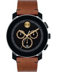 Movado - Bold Chrono Leather Strap Watch - Lyst