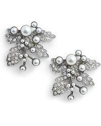 Badgley Mischka - Imitation Pearl Crystal Leaf Earrings - Lyst