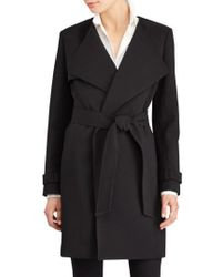Lauren by Ralph Lauren | Flap Detail Crepe Wrap Coat | Lyst