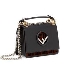 Lyst - Fendi Kan I Small Embossed Leather Shoulder Bag in Black ... f5300b826bf12