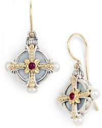 Konstantino - Etched Silver Pearl & Ruby Drop Earrings - Lyst