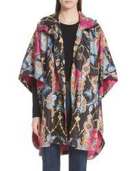 Etro - Tassel Print Hooded Poncho Jacket - Lyst