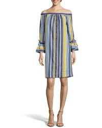 Eci - Stripe Off The Shoulder Shirtdress - Lyst
