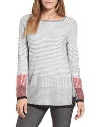 NIC+ZOE - Balance Side Zip Cotton Blend Sweater - Lyst