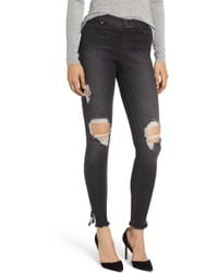 Hue - Ripped Ankle Slit Denim Leggings - Lyst