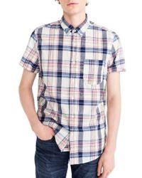 J.Crew | J.crew Indigo Plaid Short Sleeve Madras Shirt | Lyst