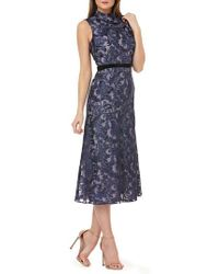 Kay Unger - Sleeveless Embroidered Tea Length Dress - Lyst