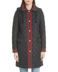 Gucci - Web Detail Quilted Coat - Lyst
