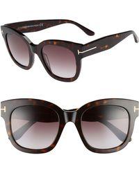 478048db15 Tom Ford - Beatrix 52mm Sunglasses - Dark Havana  Gradient Bordeaux - Lyst