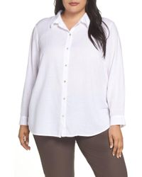 c31f03c8d73d49 Eileen Fisher Classic Collar Shirt (white) Women's Clothing in White - Lyst