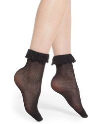 Pretty Polly - Ruffle Fishnet Ankle Socks - Lyst