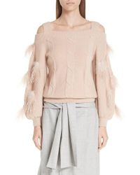 ADEAM - Off The Shoulder Cashmere Sweater With Feather Trim - Lyst