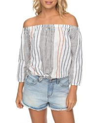 Roxy | Rozy Crossing Stripes Of The Shoulder Top | Lyst