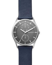 Skagen - Holst Multifunction Leather Strap Watch - Lyst