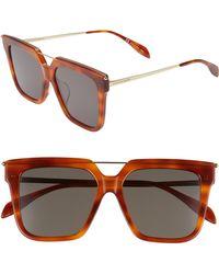 Alexander McQueen - 55mm Sunglasses - Havana - Lyst