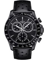 Tissot - V8 Chronograph Leather Strap Watch - Lyst