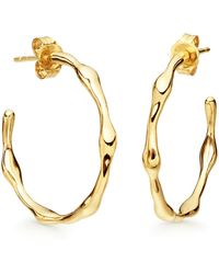 Missoma - Golden Medium Molten Hoop Earrings - Lyst