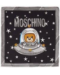 Moschino - Spaceship Bear Silk Square Scarf - Lyst