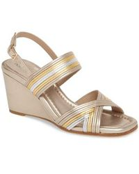 Laine Metallic Leather Wedge Sandals yR7Ht8