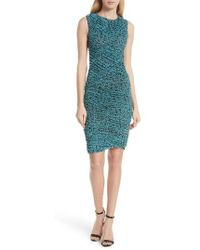 Diane von Furstenberg - Bias Mesh Overlay Body-con Dress - Lyst