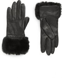 Badgley Mischka - Badgley Mischka Faux Fur Trim Leather Touchscreen Gloves - Lyst