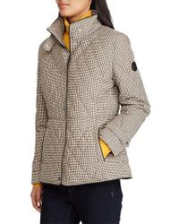 Lauren by Ralph Lauren - Houndstooth Quilted Military Jacket - Lyst