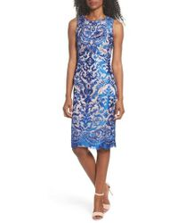 Vince Camuto | Embroidered Mesh Sheath Dress | Lyst