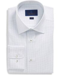David Donahue - Trim Fit Dot Dress Shirt - Lyst