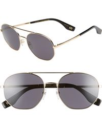 747be0433c500 Marc Jacobs - 57mm Round Aviator Sunglasses - Antique Gold  Grey - Lyst