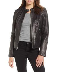 Andrew Marc - Leather Moto Jacket - Lyst
