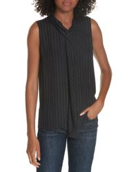 Theory - Draped Front Silk Shell - Lyst