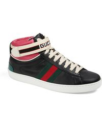 1dcd6358fe9 Gucci - New Ace High Top Sneaker With Genuine Snakeskin Trim - Lyst