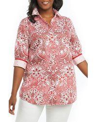 Foxcroft - Faith Batik Floral Top - Lyst