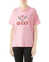 bdedf85692e Lyst - Gucci Oversize T-shirt With Embroidered Fishes in Pink