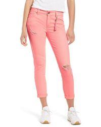 Tinsel - Distressed Roll Cuff Skinny Jeans - Lyst